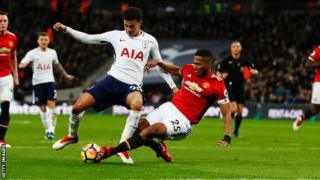 Alli appeared to be fouled by Antonio Valencia with the score at 2-0 in the first half