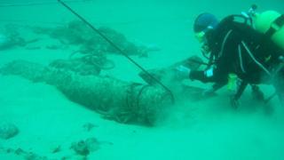 Diver examining cannon on Alderney Elizabethan wreck on seabed
