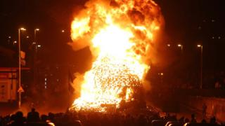 The bonfire, which reached 20ft (6m) in height, was built in the middle of a main road in Derry last year