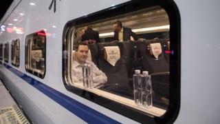 George Osborne on a train leaving north west China
