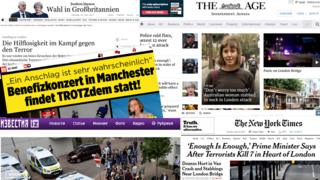 Newspaper front pages covering attacks in London