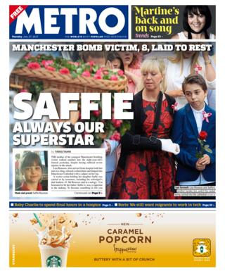 Metro front page - 27/07/17