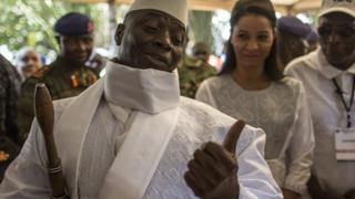 President Jammeh after voting in December
