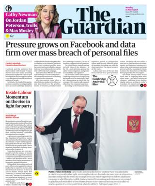 Guardian front page - 19/03/18