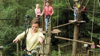 People climbing on a Go Ape course