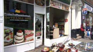 The damaged shop in Norwich