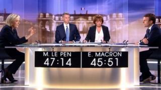 Le Pen a hagu da Macron a dama