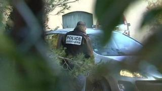 Police outside the house were the murder suspect Robert Planet lived in Nimes
