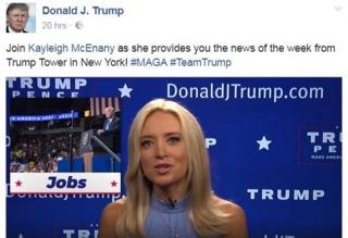 "Post on the Donald Trump account: ""Join Kayleigh McEnany as she provides you the news of the week from Trump Tower in New York! #MAGA #TeamTrump"" accompanied by the video"
