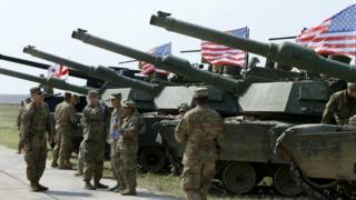 The US has deployed M1A2 Abrams main battle tanks for the drills
