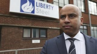 Sanjeev Gupta outside Liberty's latest acquisition - Dalzell steel plant in Scotland