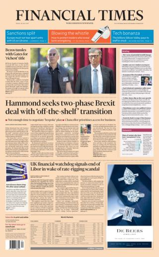 Financial Times front page - 28/07/17