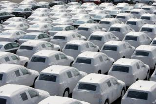 Rows of VW cars
