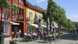 Street scene in Lillehammer, Norway
