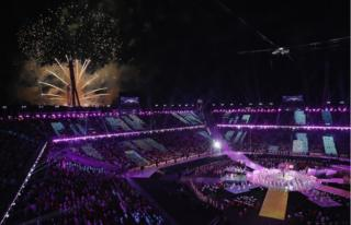 Fireworks burst above the stadium at the PyeongChang 2018 Paralympic Closing Ceremony