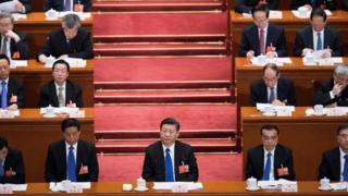 China's President Xi Jinping (C) attends the fourth plenary session of the National People's Congress (NPC)