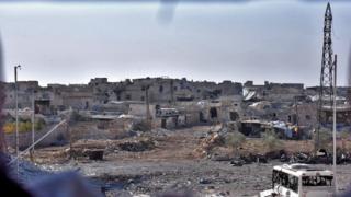 Halep'in batısındaki yıkım