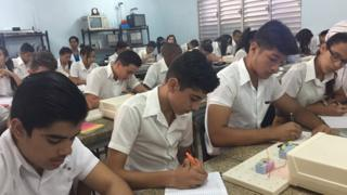 Pupils at the Jesus Suarez Gayol secondary school in Havana