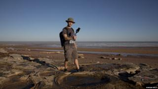 Dr Robert Zlot, head of CSIRO's Robotic Perception Lab, mapping dinosaur tracks in Western Australia