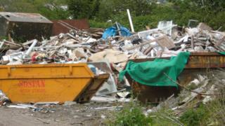 Illegal waste dumped by Sospan