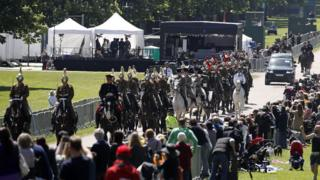 Members of the Household Cavalry Mounted Regiment escort the Ascot Landau carriage pulled by Windsor Grey horses, on the Long Walk during a rehearsal for the wedding procession