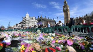 Floral tributes in Westminster