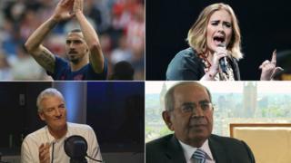 From top left clockwise - Zlatan Ibrahimovic, Adele, Gopichand Hinduja and James Dyson