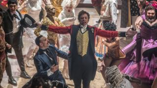 Hugh Jackman and cast of The Greatest Showman