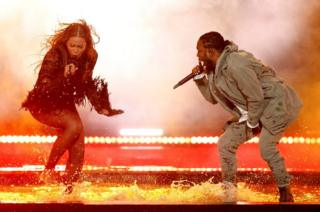 Beyonce performs her song Freedom with Kendrick Lamar at the Black Entertainment Television (BET) Awards in Los Angeles
