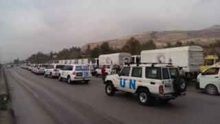 UN-led humanitarian convoy about to enter Madaya, Syria (11 January 2016)