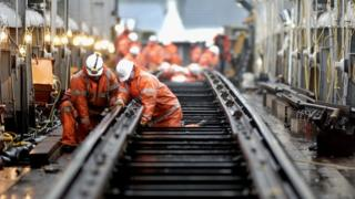 Railway workers carrying out engineering work