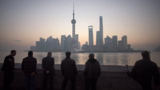 Elderly men on the waterfront in Shanghai