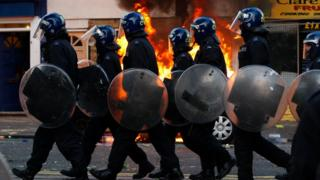 Met Police officers during the London riots