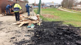 Bonfire material being cleared in east Belfast