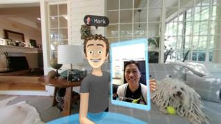 Mark Zuckerberg, as an avatar, takes a selfie with his wife, via video call, and his dog, via 360 camera