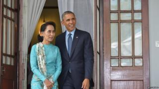 オバマ米大統領は2014年に、民主化運動を率いてきたアウン・サン・スー・チー氏のヤンゴン市内の自宅を訪れている