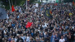 Protesta pacífica en Hamburgo.