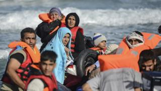 Newly-arrived migrants in Chios, Greece, 3 Nov 15