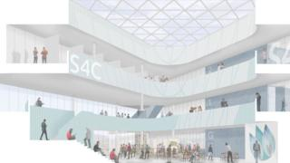 Artist's impression of the planned new S4C building in Carmarthen