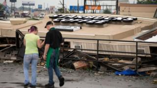 A Starbucks is demolished after an apparent tornado touched down in Kokomo