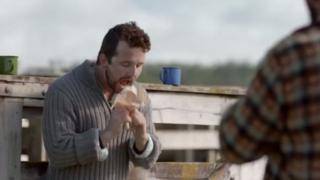 Nigel drop his pie on the Rainbow Youth advert