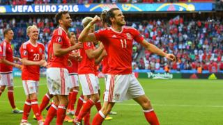 Wales players celebrate their 1-0 victory over Northern Ireland securing them a quarter final place