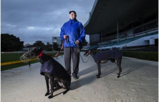 Peter McCann and his greyhounds Jimmy and Trigger