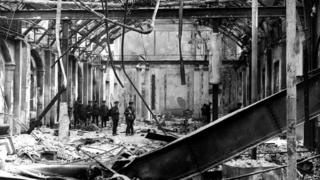 British soldiers survey the interior of Dublin's General Post Office (GPO) - the rebel headquarters destroyed in the 1916 Easter Rising