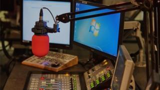 BBC Studio mic and desk