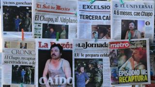 """Newspapers in Mexico City show pictures of drug kingpin Joaquin """"El Chapo"""" Guzman on their front pages"""