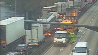 Traffic Wales camera footage of queuing traffic