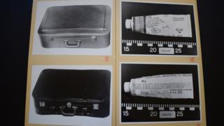 Police photos from the Bergen State Archives showing the two suitcases and the eczema cream