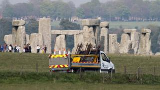 Stonehenge with construction vehicle in front of it