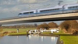 Artist's concept of an HS2 train